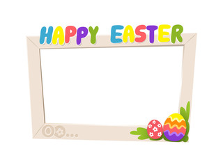 Social network Easter frame - cartoon style isolated on white background