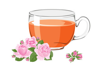 Herbal tea with roses in glass cup with flowers and buds  isolated on white background. Vector illustration of hot drink in cartoon simple flat style.