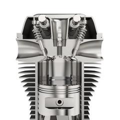 Motor mit Zylindern, Kolben und Zündkerze, isoliert weißer Hintergrund 3D Rendering