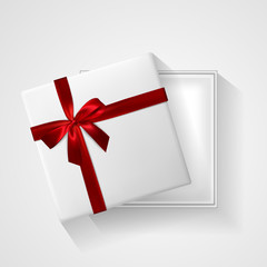 White Gift box with red bow and ribbon top view. Element for decoration gifts, greetings, holidays. Vector illustration