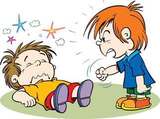 Children fighting. Vector