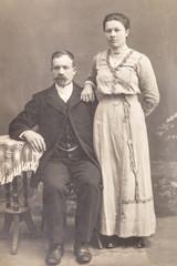 RUSSIA - CIRCA 1905-1910: Shot of married couple in studio, Vintage Carte de Viste Edwardian era photo