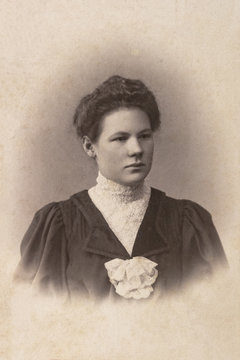 RUSSIA - CIRCA 1905-1910: A portrait of young woman, Vintage Carte de Viste Edwardian era photo