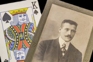 RUSSIA - CIRCA 1905-1910: A portrait of young man, Vintage Carte de Viste Edwardian era photo and playing card