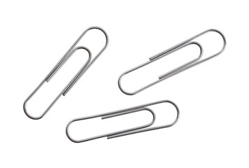 Silver paper clips isolated on white background