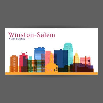 Winston–Salem city architecture silhouette. Colorful skyline. City flat design. Vector business card.