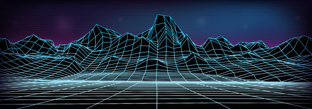 Abstract wireframe landscape background. Cyberspace neon blue grid. 3d mountine vector illustration.