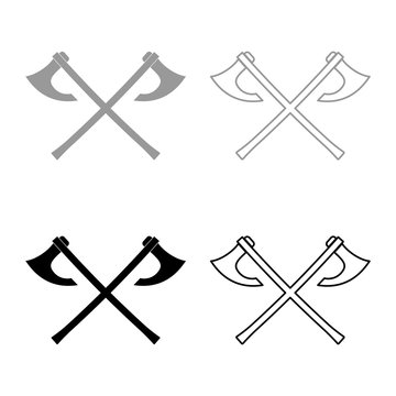 Two battle axes vikings icon set grey black color illustration outline flat style simple image