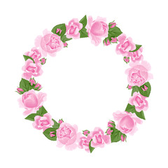 Roses wreath isolated on white background. Flower round garland of pink roses, buds and green leaves. Vector illustration of botanical frame in cartoon flat style.