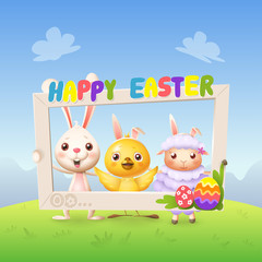 Happy cute bunny chicken and lamb celebrate Easter with social network photo frame - spring landscape background