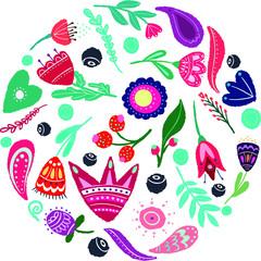 vector circular concept of folk-style flowers
