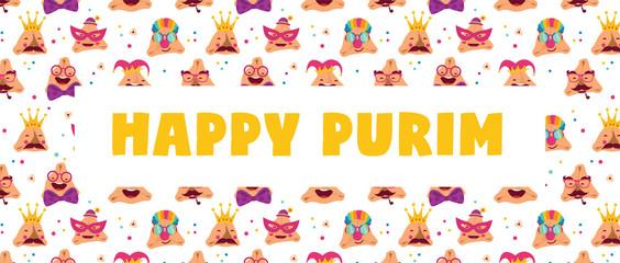 Happy Purim carnival with funny hamantashen - invitation - greeting