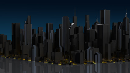 Business downtown and skyscrapers tower. 3d rendering.