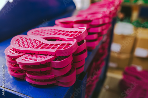 Pink sole shoes  Hands making shoes  Making shoes manual  Footwear