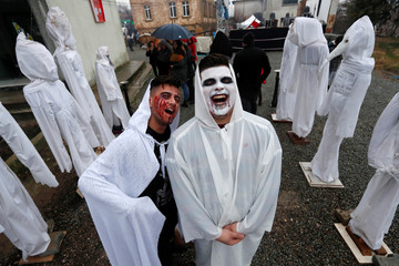 Revelers wearing scary make up pose as they get ready for the Bocuk night, or the Thracian Halloween, in Camlica village, near the western town of Kesan