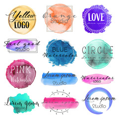 Watercolor logo set, Feminine logo design set, Colorful vector Illustration.