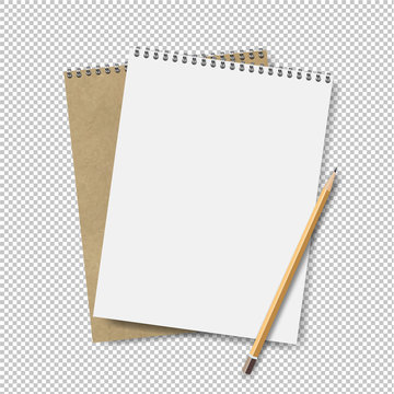 Two Note books With Pensil Transparent Background