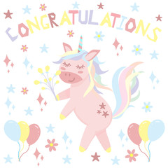 unicorn congratulates - vector illustration, eps