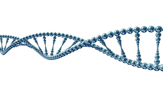 Stylized DNA spiral molecule isolated on white