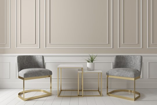 Contemporary interior of living beige wall with grey fabric armchair and side table on white wooden floor.