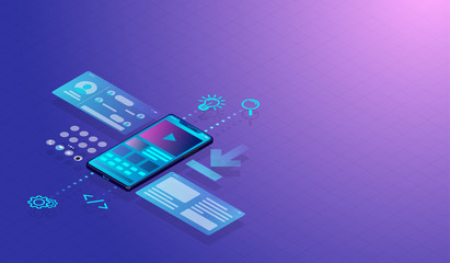 Isometric Smartphone UI-UX design concept and application, web development with screen layers show user interface graph and icons. Vector