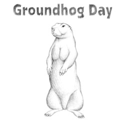 he Vector logo groundhog for tattoo or T-shirt design or outwear.  Cute print style woodchuck background.