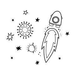 Vector illustration of rocket, satellite and stars. Doodle style. Monochrome