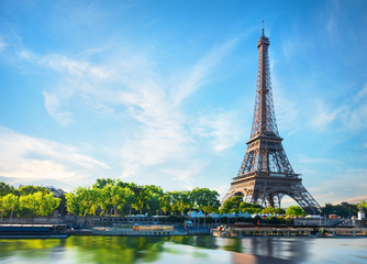 Poster Eiffel Tower Seine in Paris