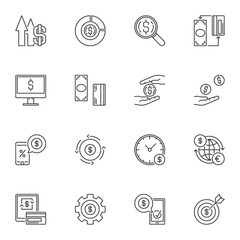 Vector Money concept icons with dollar sign in thin line style