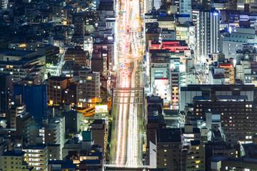 urban avenue at night