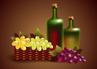 red and white wine in bottles and grapes in a busket
