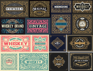 Pack of 16 vintage labels.