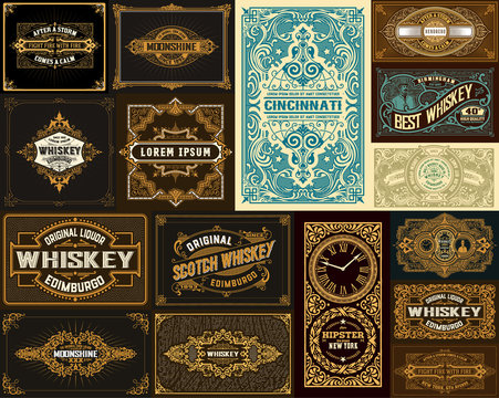Pack of 16 vintage designs for packing