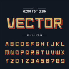 Line Font and alphabet vector, Shadow Square typeface letter and number design, Graphic text on background