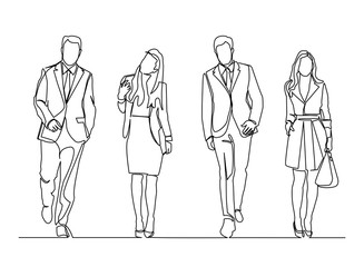 continuous line drawing of standing team of professionals illustration business concept.