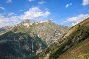 Closeup view mountains scenes in national park Dombai, Caucasus, Russia, Europe
