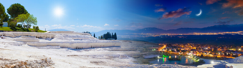 Papiers peints Vieux rose Day and night, sun and moon collage of Pamukkale, Turkey