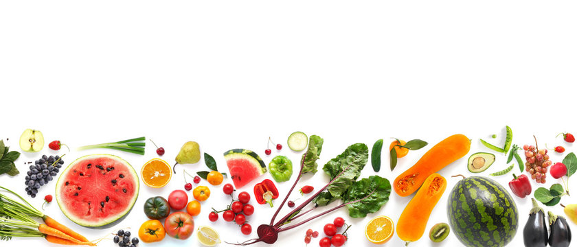 Banner from various vegetables and fruits isolated on white background, top view, creative flat layout. Concept of healthy eating, food background.
