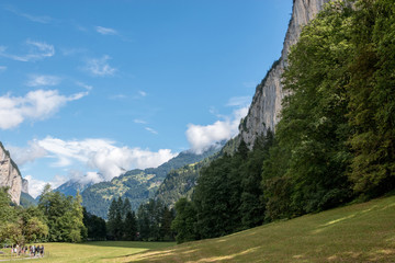 View valley of waterfalls in city Lauterbrunnen, Switzerland, Europe