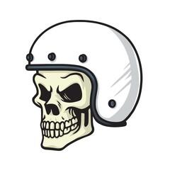 Skull Biker Helmet Vector Illustration Cartoon