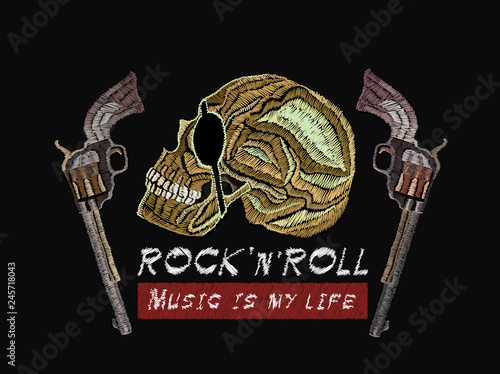 Rock n Roll embroidery  Skull pirate and guns  Music is my life