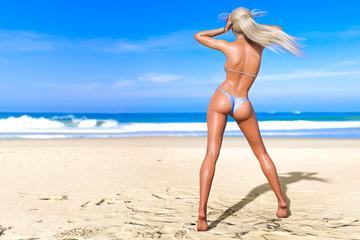 3D beautiful sun-tanned woman blue swimsuit bikini on sea beach. Summer rest. Blue ocean background. Sunny day. Conceptual fashion art. Seductive candid pose. Realistic render illustration.