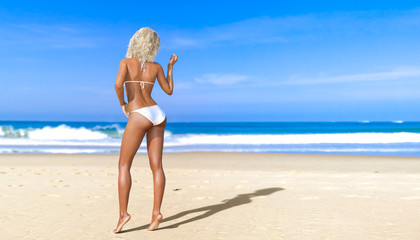 3D beautiful sun-tanned woman white swimsuit bikini on sea beach. Summer rest. Blue ocean background. Sunny day. Conceptual fashion art. Seductive candid pose. Realistic render illustration.
