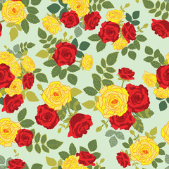 Seamless repeat pattern with bouquet of roses
