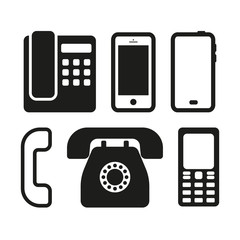 Black phone icons set. Vector illustration.