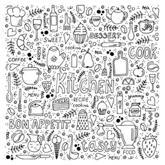 Vector illustration of kitchen utensils symbols and various desserts with hand drawn lettering. Doodle style background.