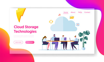 Cloud Computing Technology Landing Page. Team with Gadget Download, Upload Information on Memory Service. Storage Info Symbol Concept for Website or Web Page Flat Cartoon Vector Illustration