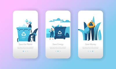 Recycle Paper Garbage Bin Mobile App Page Onboard Screen Set. People Reuse Plastic to Care Organic Nature. Eco Lifestyle Concept for Website or Web Page. Flat Cartoon Vector Illustration