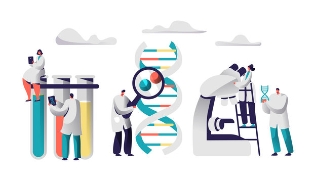 Scientist Team Research Medicine in Chemical Laboratory Image. Female in Medical Gown sit on Test Tube with Tablet. Man with Magnifier explore Genome Pair. Flat Vector Cartoon Illustration