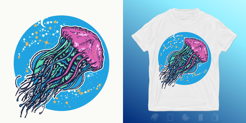 Jellyfish floats in deep space. Print for t-shirts and another, trendy apparel design. Symbol of wandering, deep sea, travel, meditation
